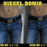 DIESEL 2013春夏モデル BONIO レザーベルト 使用レポート : サイズ比較