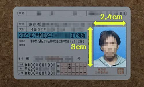 運転免許証の写真のサイズ 3×2.4cm