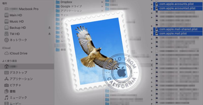 Macメールの関連ファイルの場所